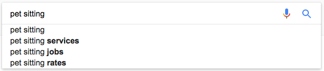 google pet sitting autocomplete suggestions