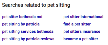 google pet sitting related search terms